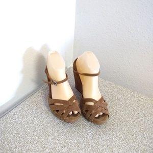 Ugg Australia Brown Suede Wedge Sandals